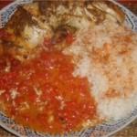 Merlan à la sauce et au riz
