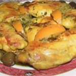 Poulet au citron, mhamer, rôti aux olives