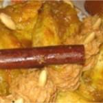 Poulet mqualli à l'huile d'argan et confit de coings