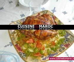 poulet-roti-riz-legumes-sautes