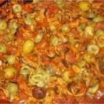 Tajine de moules aux olives et poivrons rouges
