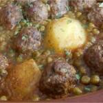 Tajine de viande hachée aux patates et petits pois