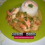 Crevettes au riz et poivrons