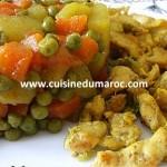 Escalope de poulet émincés aux légumes