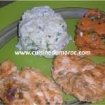 Escalope de poulet mariné, pommes de terre et carottes